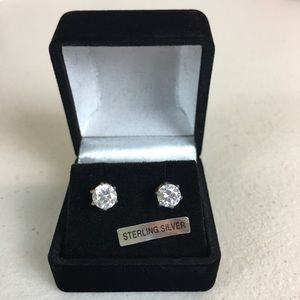 Jewelry - Sterling Silver Crystal Stud Earrings in Gift Box